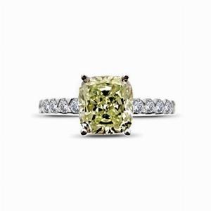 Cushion Cut Yellow Diamond Ring - 1.50ct